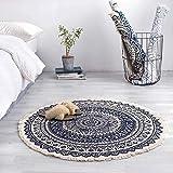 FCS Teppich Marokko Runde Teppichboden Schlafzimmer Boho Art-Troddel-Baumwolle Teppich Hand...
