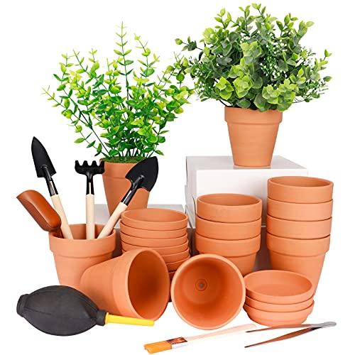 Nilos 3 Inches Small Terracotta Pots with Saucer, 12 Pack 3' Clay Pots and Saucers with...