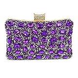 Bolso De Noche Mujeres Fashion Shine Evening Bag Wedding Soiree Bolso De Embrague Nupcial con Bolsos De Cadena Paquete Femenino-Púrpura