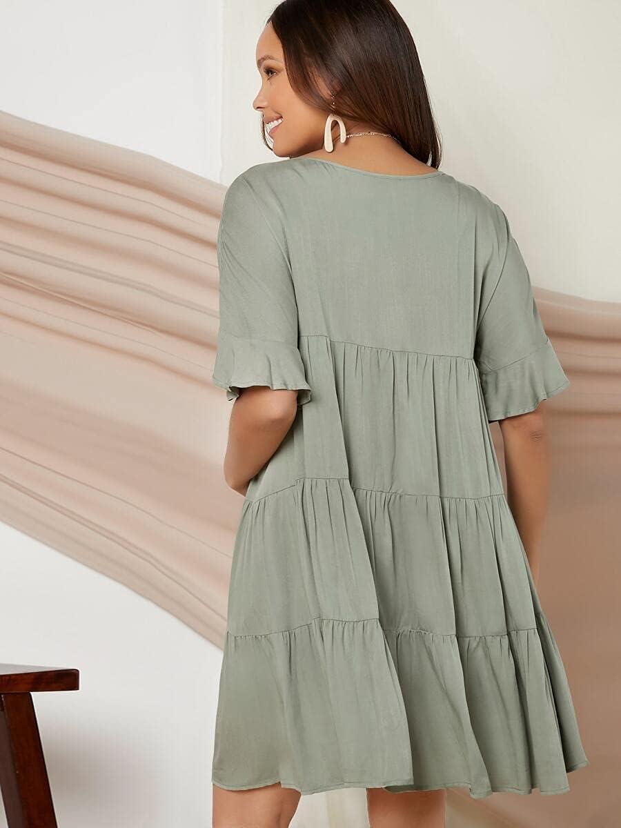 Shreem85 New York Mall Maternity Dress Ranking TOP3 Flounce Hem Solid Colo
