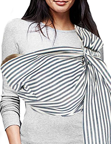 Vlokup Baby Sling Ring Sling Carrier Wrap - Soft Lightweight Cotton Baby Slings for Infant, Toddler, Newborn and Kids - Great Shower Gift, Lightly Padded, Adjustable - Nursing Cover Black Stripe