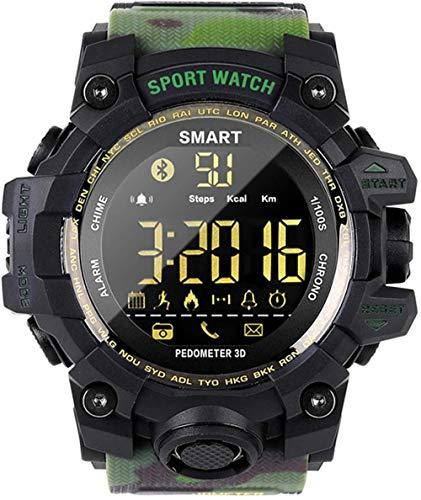 Outdoor Smart Watch Sport Camuflaje Style Contador de pasos a tiempo completo Bluetooth 4.0 estructura dual de resistencia exterior y resistencia interior negro verde militar