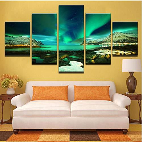 Lllyzz Hd Prints Canvas Modulaire afbeeldingen Muurkunst Frame 5 stuks Polarregion Schilderij Green Lake Poster Wooncultuur kamer 200x100cm