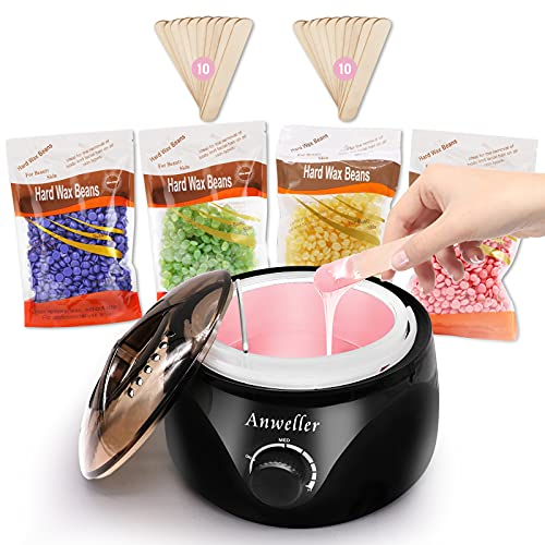 Wax Warmer, Anweller Hair Removal Waxing Kit with 4 * 100g Wax Beans and 20pcs Wax Applicator...