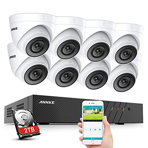 ANNKE H500 5MP PoE Überwachungskamera Set, Überwachungskamera System 8CH NVR 2TB Festplatte mit 8X 5MP IP67 Wasserdicht Dome Kamera,für Aussen Innen,EXIR Nachtsicht, Bewegungserkennung