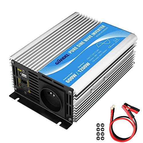Convertisseur Pur Sinus 600W DC 12v à AC 220V 230V Onduleur Transformateur avec Télécommande et Port USB pour Ordinateur Portable, Appareil Photo, Smartphone GIANDEL