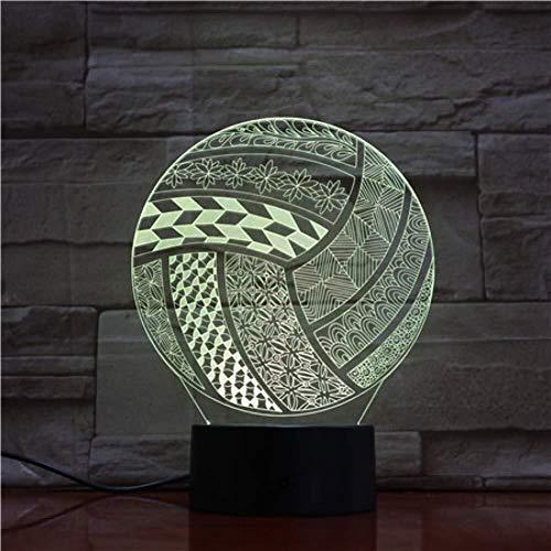 Illusion 3D Sport Volley-ball forme de boule lampe LED Enfants Décoration Chambre Cadeau enfant Led Veilleuse capteur tactile 7 couleurs lampe de décoration intérieure lumière de nuit