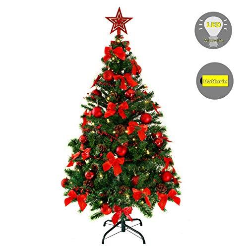 Baunsal GmbH & Co.KG Weihnachtsbaum Tannenbaum Christbaum künstlich 150 cm grün mit roter Dekoration und Lichterkette mit Micro LEDs …
