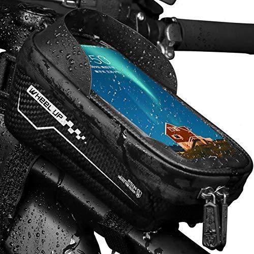 FEOYA Fahrradfrontträgerpaket Hartschalen Wasserabweisender Fahrradtelefonhalterung Mit TPU-empfindlicher Touchscreen Verdickte Lenkertasche Fahrradrahmen Fahrradtelefonhalterständer-Schwarz-6.5 Zoll