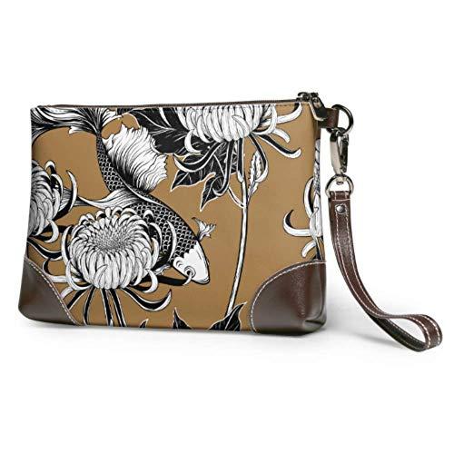 XCNGG Cartera de pulsera de cuero suave impermeable para mujer, diferente y hermoso, bolso de mano de crisantemo para hombre, cuero con cremallera para mujeres y niñas
