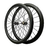 VHHV Fibra de Carbon Juego de Ruedas 700C, Bicicleta Delantero Trasero Ruedas, 40mm, 50mm, 55mm - Ultra Ligero 24H Negro - 1700g (Size : 55mm)