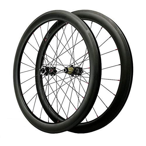 LvTu Fibra de Carbon Juego de Ruedas 700C, Bicicleta Delantero Trasero Ruedas, 40mm, 50mm, 55mm - Ultra Ligero 24H Negro - 1700g (Size : 55mm)