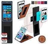 Hülle für Samsung ATIV S Neo Tasche Cover Hülle Bumper | Braun Leder | Testsieger