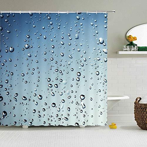 Duschvorhang, Regentropfen-Stoff, mit Haken, beliebt, modern, Polyester, wasserdicht, 180 x 180 cm