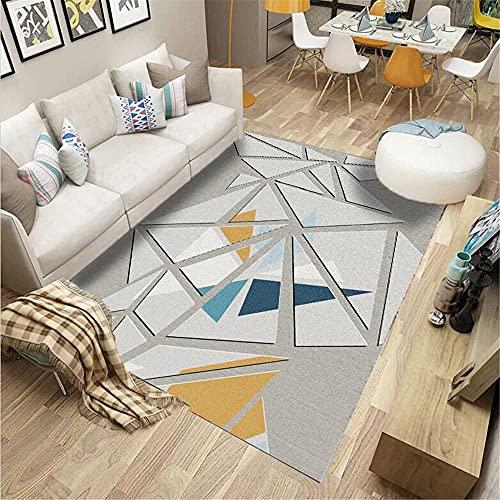 La Alfombra decoración habitación niño Alfombra geométrica Amarilla Azul Gris Fácil de Limpiar y Duradero Alfombra de Salon Alfombra Infantiles 80*160cm