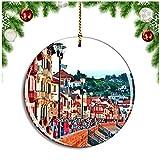 Weekino Saint-Jean-de-Luz Francia Promenade Jacques Thibaud Decoración de Navidad Árbol de Navidad Adorno Colgante Ciudad Viaje Colección de Recuerdos Porcelana 2.85 Pulgadas