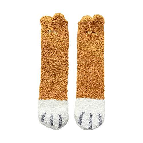 Cgration Women Winter Microfiber Fluffy Slipper Crew Socks Cartoon 3D Ears Cat Paw Embroidery Kawaii Thick Cozy Warm Floor Sleeping Hosiery Gifts