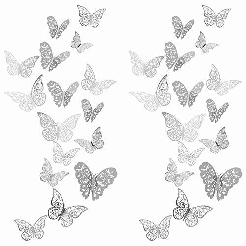 YANFANG 72Pc 3D Butterfly Wall Decals Sticker Art Decorations Set TamañOs DecoracióN,para Despegar Y Pegar Sala Estar, CalcomaníA Mariposa Pared, Flores NiñOs,...