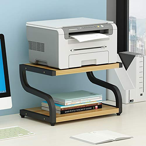 PUNCIA Office Desktop-Laser-Multifunktionsdrucker Kopierer Scanner Regalständer Rack mit Anti-Rutsch-Pads für Desktop-Organizer Ablagefach Doppelstock für Mikrowellen-Topfpflanzen (Schwarz)
