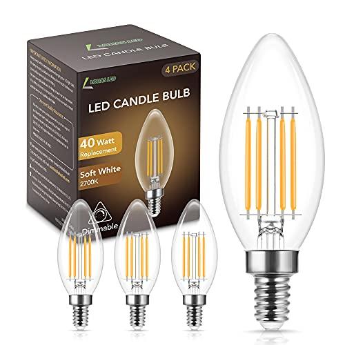4X LOHAS 4W Lampadina a Filamento LED Candela, C35 Lampadine LED E14 Luce Calda 2700K, Equivalenti a 40W, Luce LED E14 Vintage 400 Lumen, Lampadina a Edison 230V, Non Dimmerabile, 4 Pezzi