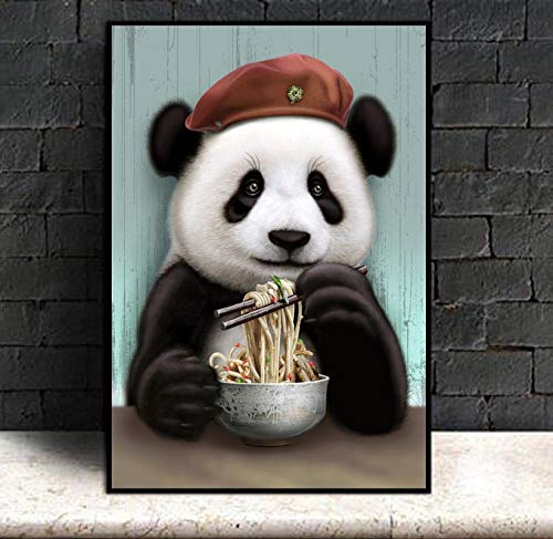 SADHAF Cute Panda Eating Hd Printing Illustration Hanging Canvas Printing Art Print Accesorios Sala de estar Decoración del hogar A4 60x80cm