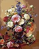 5D Diamant Peinture Kit Bricolage Décor À La Maison Mosaïque Rose Bouquet De Nombres À Colorier Calligraphie Peinture Fleur Mur Photos Pour Living Roomhandicrafts À La Main 40X50 Cm