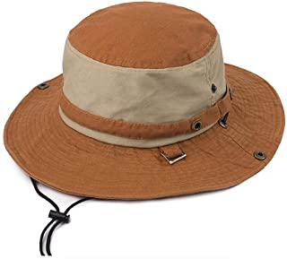 Vadeytfl Sun Hat Travel Mountaineering Sunscreen Protection Folding Fisherman Hat Big Eaves Hat with Chin Band (Color : Orange)