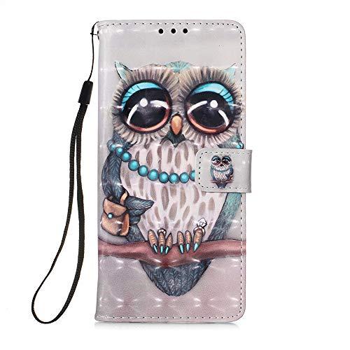 Samsung A21S Hülle, Leder, stoßfest, voller Schutz, Buch-Design, Brieftasche, Klapphülle mit [Magnetverschlus] & [Ständer] Handyhülle für Samsung Galaxy A21S, Eule