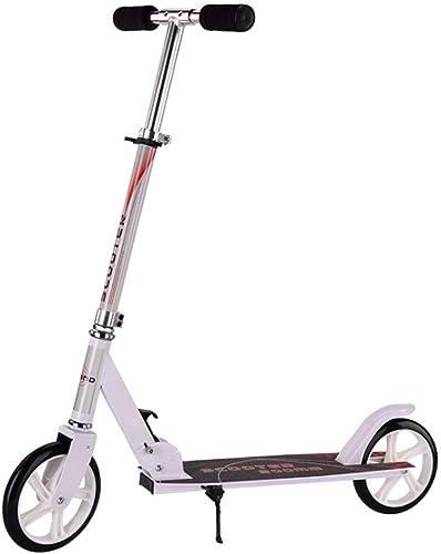 1-1 Erwachsener Kinder ZWeißd Scooter,   Aus Aluminiumlegierung Klappbar H nverstellbar Verstellbarer Lenker Leicht Stunt mädchen Junge-Geeignet Für 6+ Dreirad Roller,Weiß