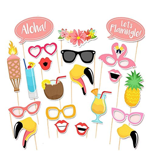 Rokou 21pcs Photo Booth Props Hawaii Themed Summer Posing Props DIY Kit for Party Holiday Wedding Favor Decorations