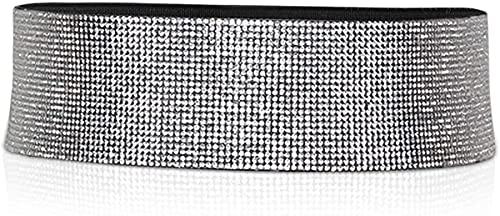 Cadena de la Cintura, cinturón de Cuero de la Moda para Las Mujeres Cinturón elástico sin cinturón de Hebilla Rhinestone Diamond Diamond Brighty Belt Cintura Ajustable de Cintura Alta
