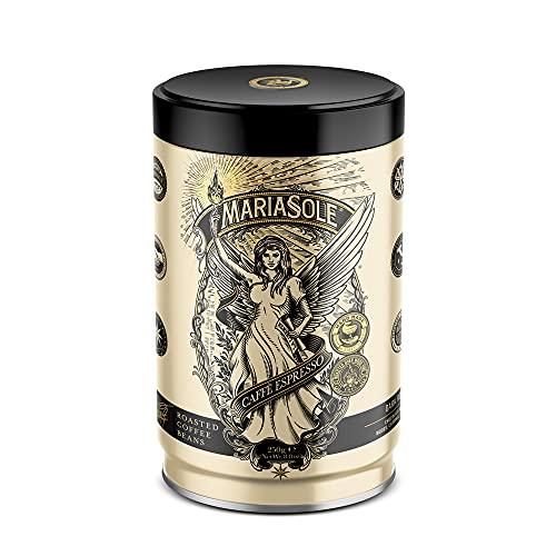 Mariasole Caffè Espresso Bohnen 250g in hochwertiger Dose NEUES DESIGN GLEICHER GESCHMACK Premium Kaffeebohnen für Vollautomat und Siebträger - Traditionelle Röstung über Holzfeuer In Handarbeit