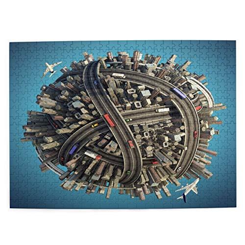 Juego de Puzzle para adultos,Rompecabezas de 500 piezas,juego de rompecabezas de imágenes Miniatura Planeta Concepto Vida Urbana Caótica divertido juego educativo para niños y adultos de juguete