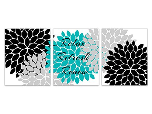 Wall Art Boutique Relax Refresh Renew, Teal Black and Grey Bathroom Prints - BATH125 (5 inches x 7 inches Paper Prints)
