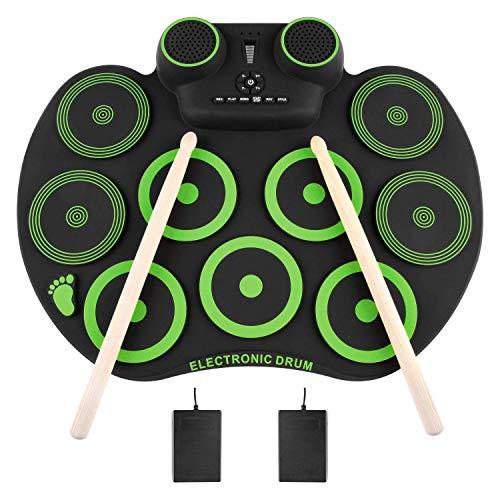 Yissvic Elektronische Trommel Bluetooth 9 Pad E Drum mit Dual Lautsprecher Faltbar Schlagzeug für Kinder Anfänger Weihnachtsgeschen
