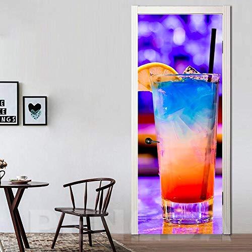 3D Deurfolie Deurfolie Diy Muurschildering Waterdicht Behang Zelfklevende Citroen Drank Deur Sticker Print Foto Renovatie Nieuwe Slaapkamer Woondecoratie-77X200Cm