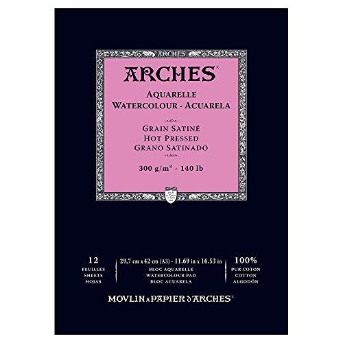 Arches Watercolor Paper Pad, 140 pound, Hot Press, 11.69'x16.53'