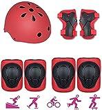 ZYGY Protector de Roller Kids Rodilleras Traje Protector de Bicicleta para Cascos de Patinaje sobre Hielo-Rojo