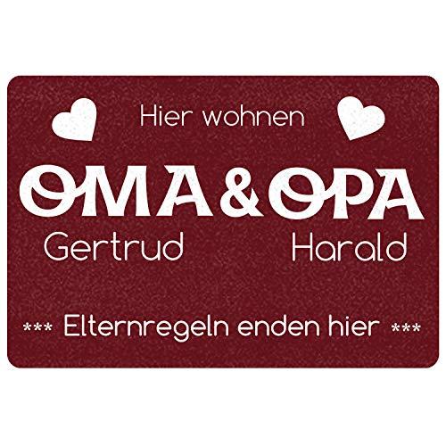 """Geschenke 24 Fussmatte Oma Opa - Elternregeln Enden Hier"""" personalisiert (Rot, mit Namen) - Fußmatte lustig, Fussmatte außen, Eingangstür Haustür - Geschenkidee für Großeltern"""