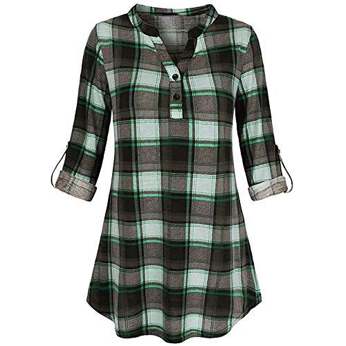 DAY8 Damen Frühjahr-Sommer Bequem Hautfreundlich Mode Casual Langarm Plaid Shirt Slim Jacke Shirt Top
