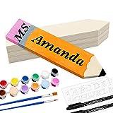 YEXPRESS 4 Pack Personalized Pencil Teacher Name Plates, DIY Desk Name Plates, Teacher Appreciation...