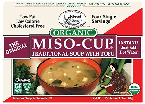 Edward & Sons Miso-Cup Organic Traditional Soup with Tofu Single Serve Envelopes, 4 Count Box (Pack of 12)