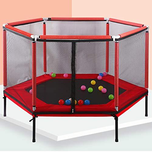 Olz Los niños de Interior 5FT Hexágono trampolín con recinto de la Seguridad y la Red de Salto Mat, Ball Pool Mini trampolín Mejor Regalo de cumpleaños para niños y niñas,Rojo