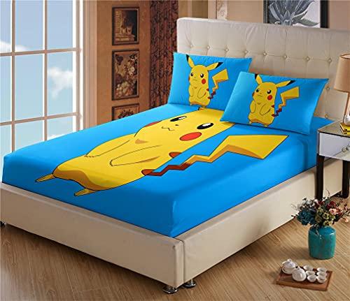 Drap Plat 1 Personne - Drap Housse Pokémon Pikachu - Microfibre - Impression numérique 3D - Housse Poche Profonde 30cm - Résistant Rides - avec Taies d oreiller(#4,70 * 140cm + 65 * 65cm × 1)