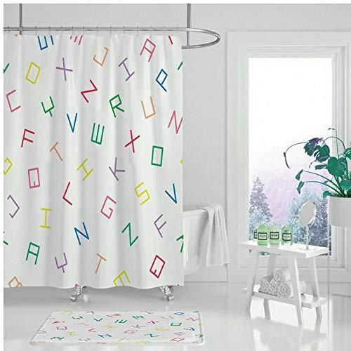 XCBN Eenvoudig geometrisch patroon bad douchegordijn, waterdicht en schimmelbestendig wasbaar badkamer decoratief douchegordijn A23 90x180cm