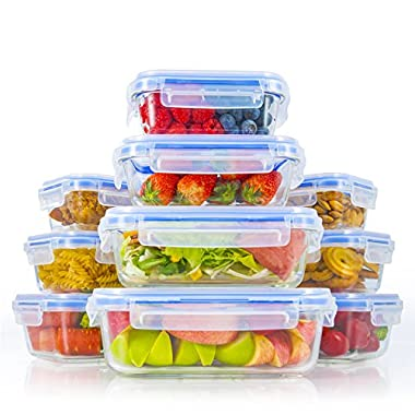 Zestkit Glass Food Storage Containers Set with Airtight Locking Lids, BPA Free Oven Freezer Dishwasher Microwave Safe (10 Pack) (Upgraded Lock Lid)