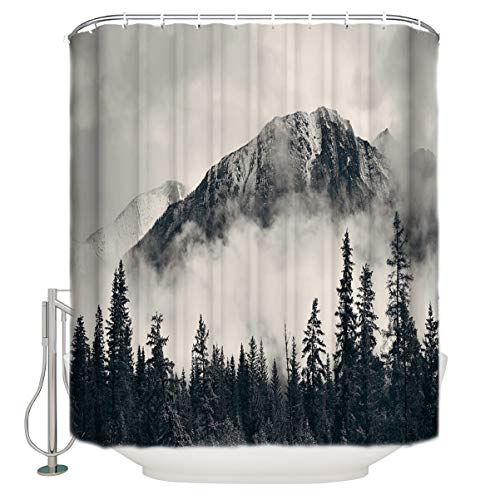 """Custom Shower Curtains National Parks Canadian Smokey Mountain Cliff Outdoor Idyllic Photo Art Waterproof Polyester Fabric Shower Curtain 54""""(w) x 78""""(h)"""