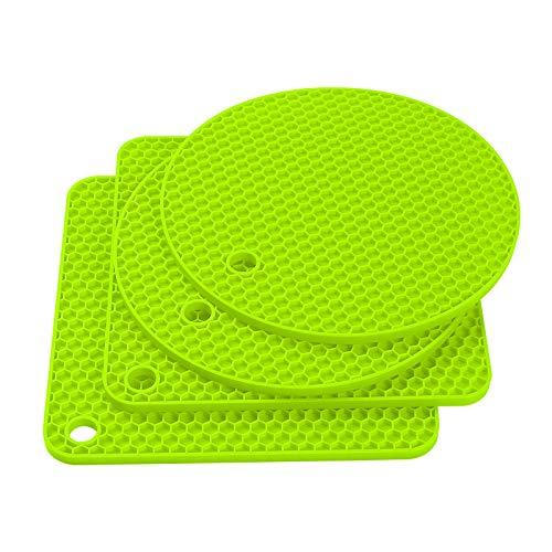 Czemo Topfuntersetzer Hitzebeständig Silikon, 4 Mehrzweck rutschfest-Untersetzer/Topflappen Set, für Warme Speisen, Küchen Topflappen Glasöffner, Löffelhalter, Untersetzer (Grün)