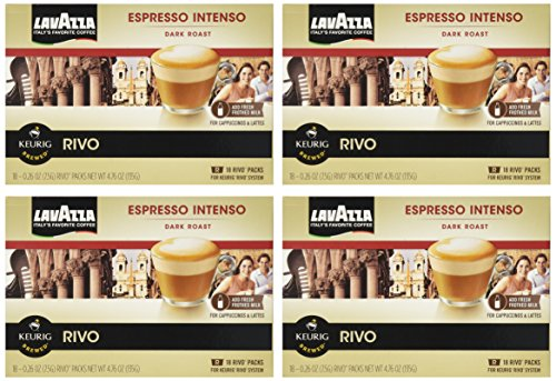 Lavazza Espresso Intenso for Keurig Rivo System (Pack of 4, 18 Count Each)