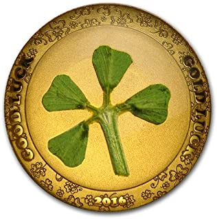 2016 PW Four-Leaf Clover .9999 Gold $1 Palau Coin $1 Uncirculated